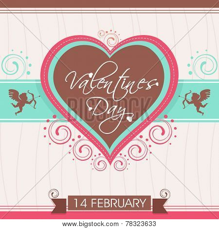 14 February, Happy Valentine's Day celebration love card, greeting card or gift card decorated with heart shape and cupid.
