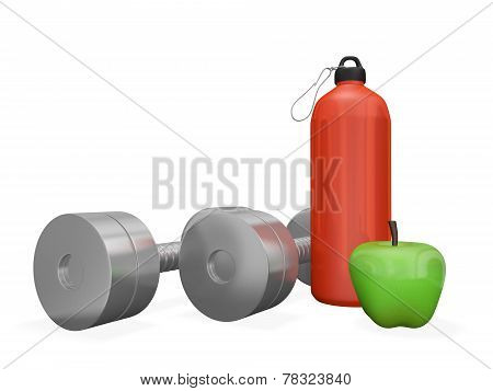 Dumbbells Gym Bottle And Green Apple