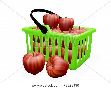 Kitchen Basket Full Of Red Apples