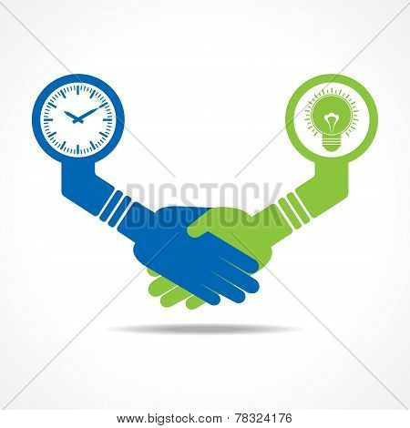 businessmen handshake between men having idea and time stock vector