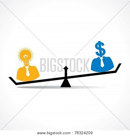 Comparison between men having idea and money stock vector
