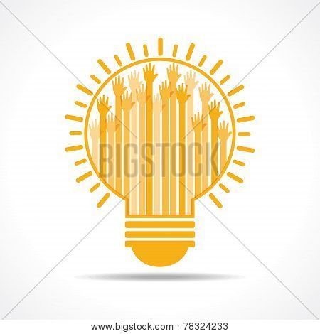 Yellow raised hand in the light-bulb stock vector