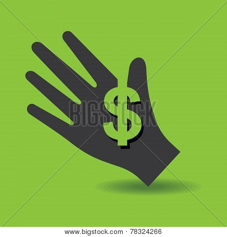 Human hand with dollar symbol concept stock vector