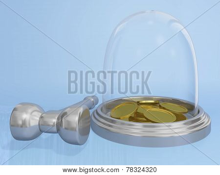Gold Coins In Glass Bank And Hammer