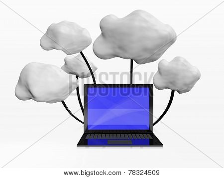 Cloud Computing 3D Illustration