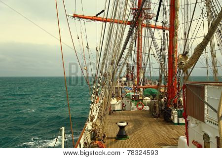on the deck of an old sailing ship