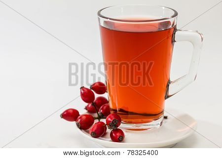 Glass Of Rosehip Tea Isolated On White Background.  Tisane
