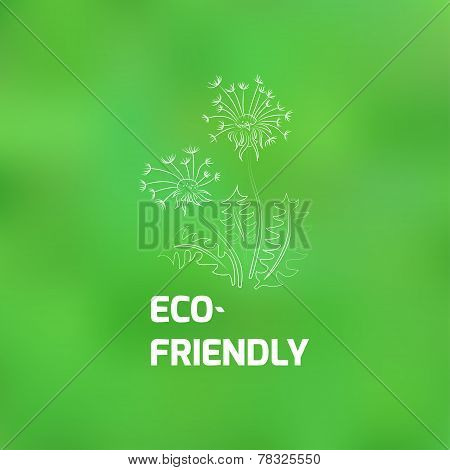 Blurred Background On The Theme Of Ecology With A Picture Of A Dandelion