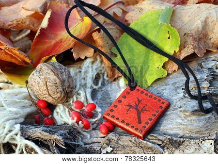 Ethnic Handmade Magic Red Clay Amulet