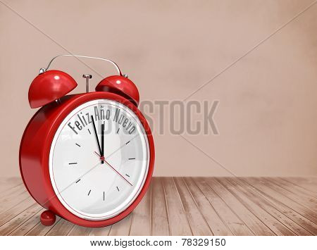 Feliz ano nuevo in red alarm clock against room with wooden floor