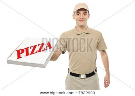 A delivery boy bringing a cardboard pizza box