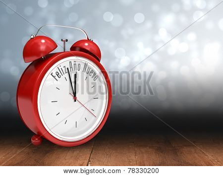 Feliz ano nuevo in red alarm clock against shimmering light design over boards