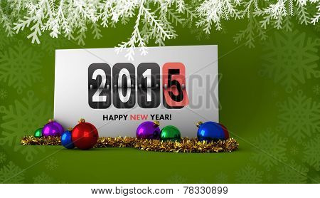 Happy new year 2015 against poster with baubles