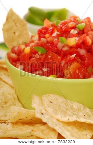 Tortilla Chips With Salsa And Lime