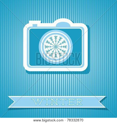 Card Design With Digital Camera Winter Concept