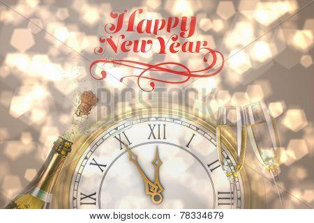 Elegant happy new year against sparkling wine