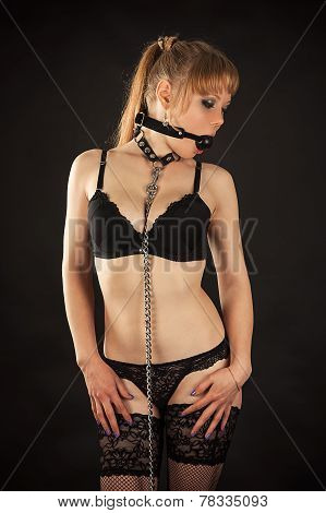 sexy woman gagged and collar