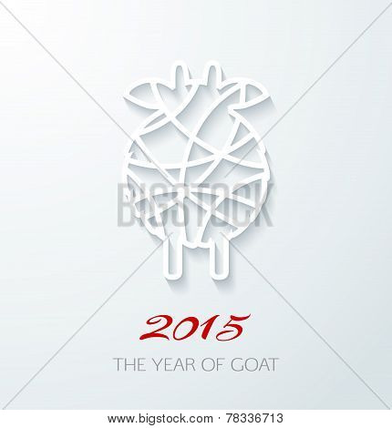 Applique Card With White Goat, Symbol Of 2015. Can Use As New Year Greeting Card Or Background.
