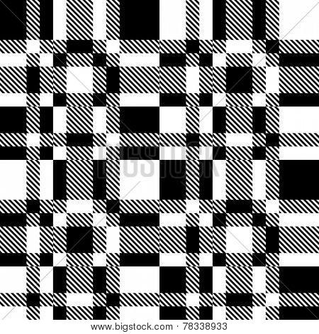Abstract Plaid Pattern. Vector Seamless Monochrome Background. Regular Tartan Texture