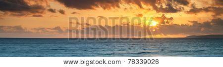Background - Sunset Or Sunrise Inspiration Of Beautiful Sky Over Sea.