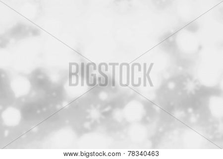 Festive Blur Background With Natural Bokeh And Bright White  Lights. Abstract Christmas Twinkled Bri