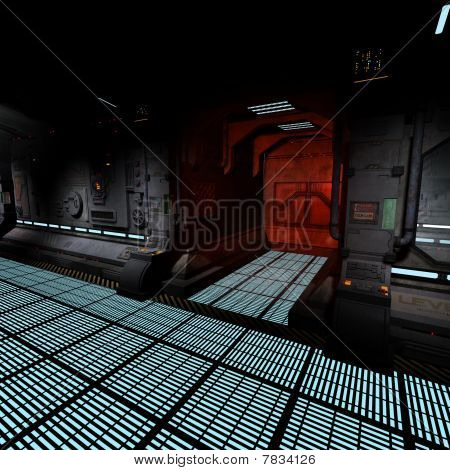 dark corridor on bord of a spaceship