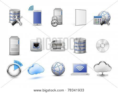 Cloud hosting icons. Servers, databases, network devices and cloud computing concept. Highly detailed vector icons