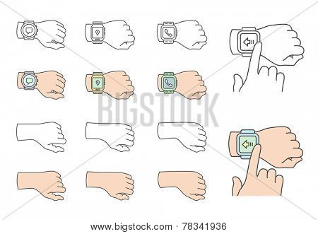 Smartwatch gestures. Collection of hands with smartwatch. Vector illustrations
