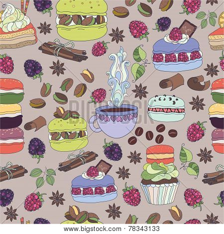 Pattern colorful macaroons and cakes