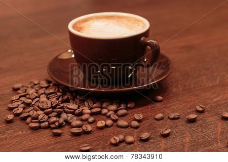 Espresso And Spilled Coffed Beans