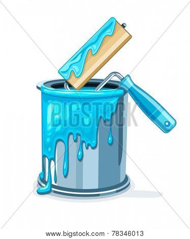 Can bucket with blue paint and roller for painting maintenances. Eps10 vector illustration. Isolated on white background