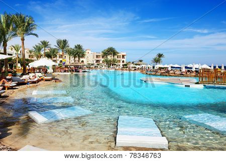 Sharm El Sheikh, Egypt -  November 29: The Tourists Are On Vacation At Popular Hotel On November 29,