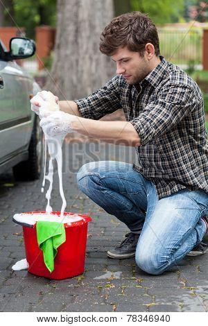 Man Making Foam