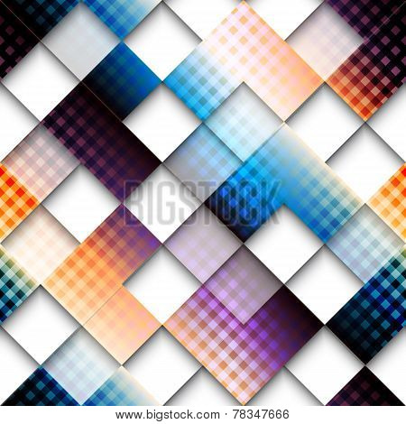 Abstract geometric pattern of squares with plaid elements