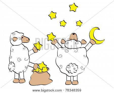 Two sheep with moon and stars
