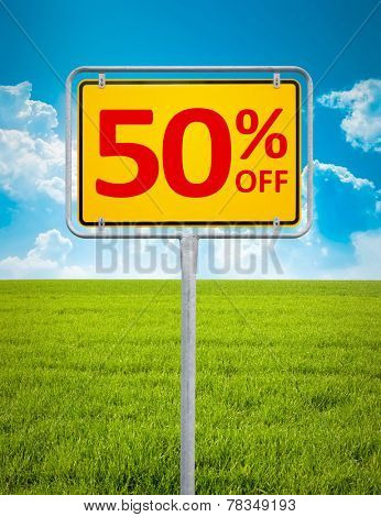 An image of a german city sign with the text 50 percent sale