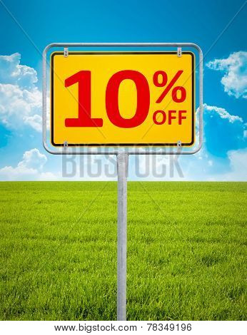 An image of a german city sign with the text 10 percent sale
