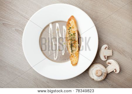 Vegetarian Mushroom Cream Soup Purée With Baked Bread Cheese Slice