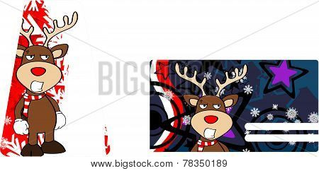 angry xmas reindeer cartoon giftcard