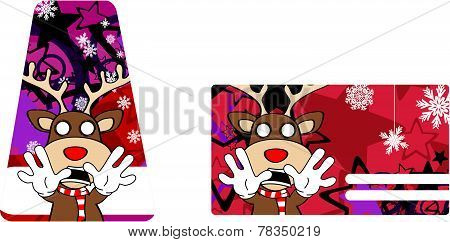 reindeer cartoon christmas giftcard