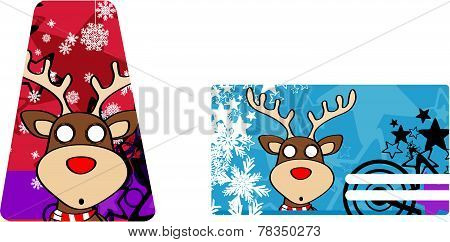 reindeer cartoon xmas card