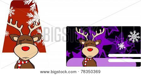 xmas reindeer cartoon giftcard