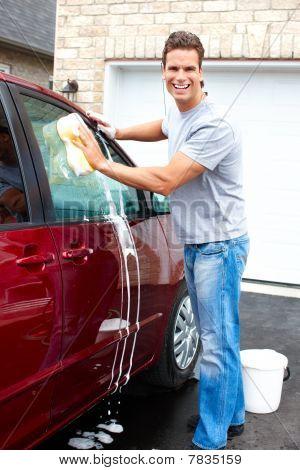 Man Washing The Car