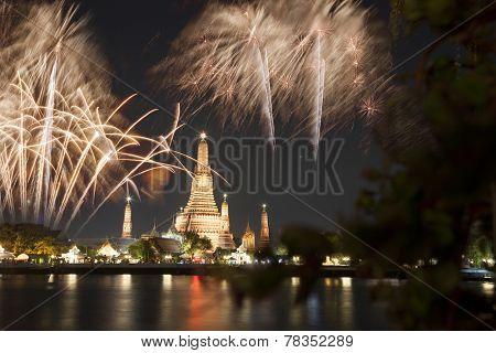 Wat arun under new year celebration time, Thailand