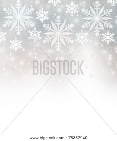 Beautiful snowflakes border with white copy space, festive background, Christmastime greeting card, wintertime decoration