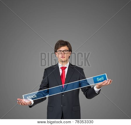 Businessman Hand Holding Search Field