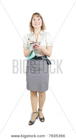 Female  Manager  Writing Something On A Notebook, Isolated Against A White Background.