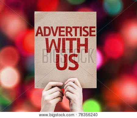 Advertise With Us card with colorful background with defocused lights