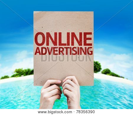 Online Advertising card with a beach on background
