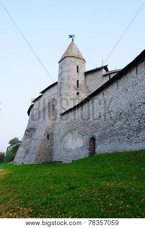 Moscow, Russia - October, 13: wall with tower in Pskov Krom (Kremlin), Russia. It's the popular place of the tourists
